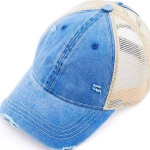 """Accessories - Distressed """"Ponytail"""" hat in Blue Jean"""
